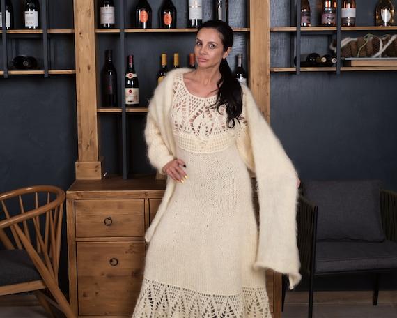 Fabulous Mohair dress, classic mohair wedding gown, winter bridal dress, Wedding dress , Crochet Maxi Dress,  Knitted Dress T847