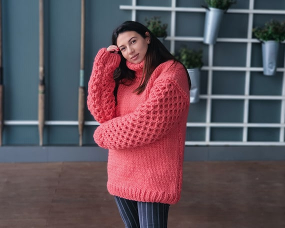 Salmon Pink wool Sweater, Honeycomb hand knitted woolen jumper T937