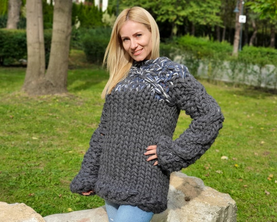 10 strands Chunky Cable Knit Sweater - knit sweater with cables, wool blend T900