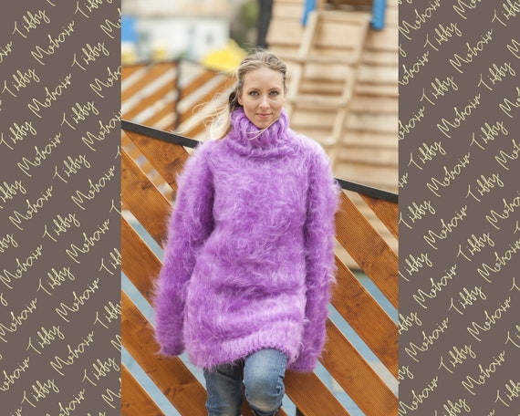 Purple Mohair Sweater, Turtleneck Sweater, Hand Knitted Sweater, T neck Jumper, Oversized Sweater Mohair Fetish, Chunky Fluffy Sweater  T466