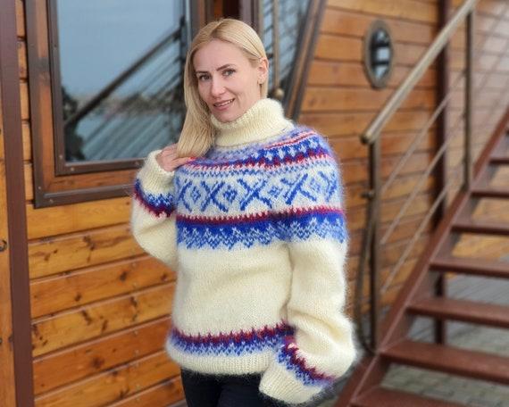 White Mohair Sweater, Icelandic Sweater, Hand Knit Sweater, Men Mohair Sweater, Norwegian Sweater, Fluffy Huge Sweater, Nordic Sweater  T918