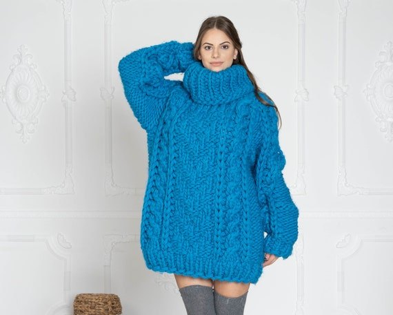 5 Strands Thick Blue Wool Sweater,Huge Chunky Knit Woolen Pullover T627W