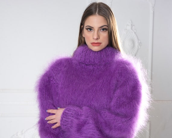 Purple Mohair Sweater, Turtleneck Sweater, Hand Knitted Sweater, T neck Jumper, Oversized Sweater,  Chunky Fluffy Sweater T983
