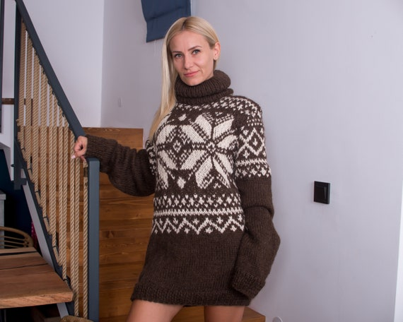 Slouchy fair isle or nordic sweater in pure  alpaca yarn, Norwegian jumper in natural colours T864W
