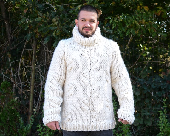 Chunky Wool Sweater in Cream Color, Cable Knit Hand Knitted Sweater T662M