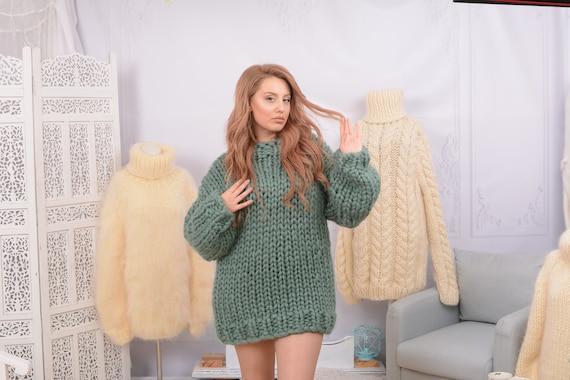 Green Merino  Sweater - Gorgeous Fall Winter Sweater , Soft bulky sweater, Women Wool Sweater, chunky sweater  T758