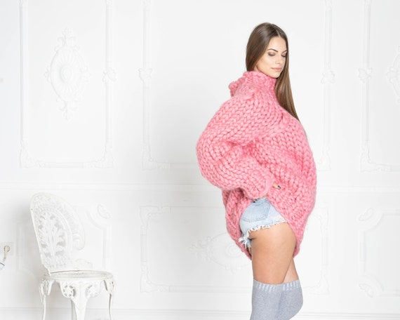 2.5 kg Pink Merino Wool Sweater , Huge Super Chunky Knit Woolen Pullover, Marshmallow sweater, Giant knit sweater, Huge Sweater T623W
