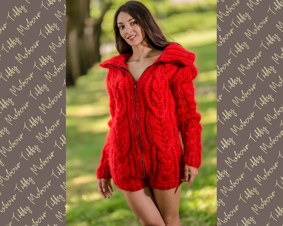 Red Mohair Bodysuit, Hand Knit Bodysuit, WInter Fluffy Bodysuit, Zipper Cardigan, Chunky Fetish Bodysuit, Mohair Romper, Mohair Catsuit T345