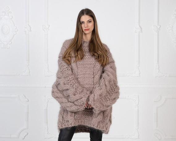 Oversized Loose Knit Beige Mohair Sweater, Cables Sweater, Hand Knit Sweater, Chunky Sweater, Chunky Sweater, Men sweater T992