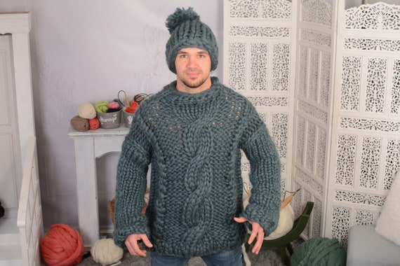 Ready to ship in size 4xl Men Merino Wool Turtleneck Sweater - Gorgeous Fall Winter Sweater, Cables bulky sweater, Women Wool Sweater  T725M