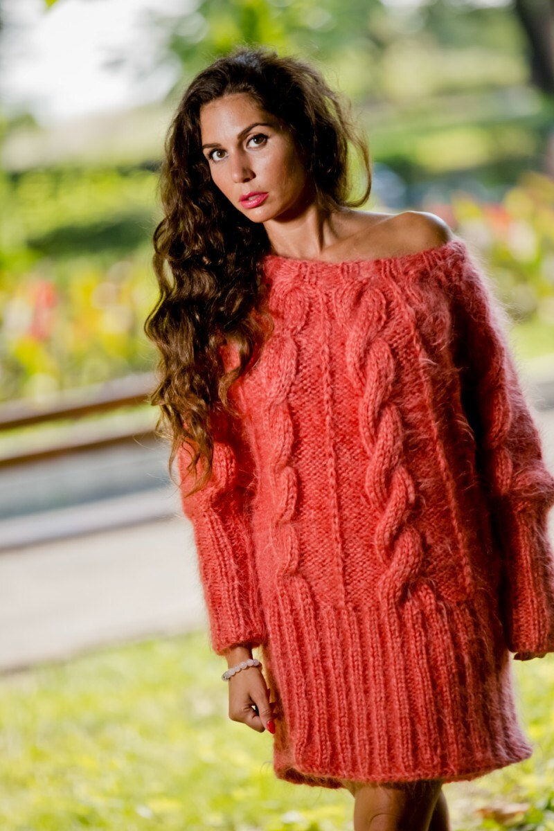 ca65b57944d Coral Mohair Sweater, Boat Neck Sweater, Hand Knit Sweater, Fluffy ...