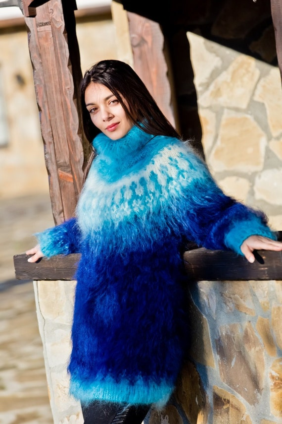 Blue Mohair Sweater Icelandic Sweater Hand Knit Sweater Men  216f872cc