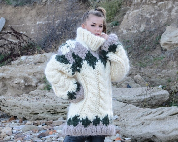 4 kg 15 strands Icelandic Mohair Sweater, Hand Knit Chunky Turtleneck Pullover, Huge Nordic Pullover T675