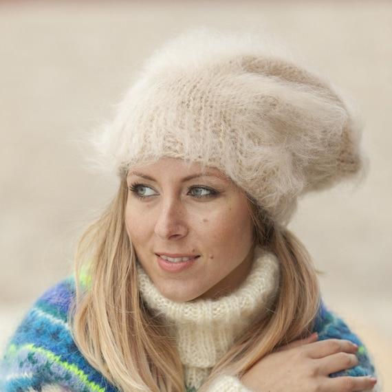 Beige Mohair Hat, HandKnit Hat, Fluffy Mohair Beanie, Slouchy Hat, Mohair Balaclava, Fluffy Winter Hat, Fetish Balaclava, Oversized Hat T492
