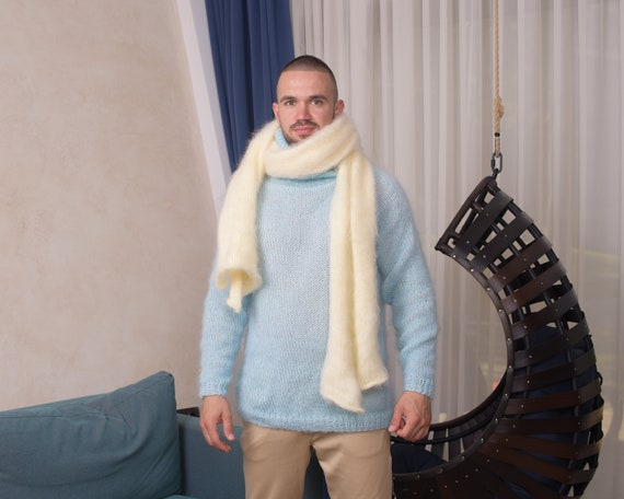 Ready to ship scarf, Cream Mohair Scarf, Fluffy Shawl, Hand Knitted Scarf,Winter Shawl, Chunky Scarf, Huge Shrug, Fuzzy Neckscarf T879
