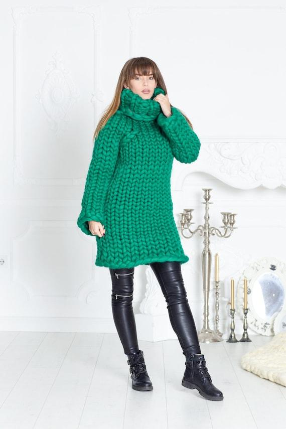 3.5 kg Merino Wool Sweater Dress, Huge Super Chunky Knit Woolen Pullover, Marshmallow sweater, Giant knit sweater T605