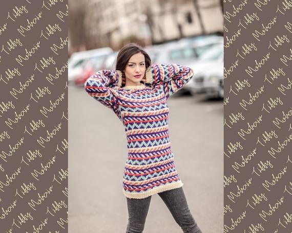 Lopi Wool Sweater, Icelandic Sweater, Hand Knitted Sweater, Raw Wool Sweater, Norwegian Sweater, Oversized Sweater, Cosy Nordic Sweater T431