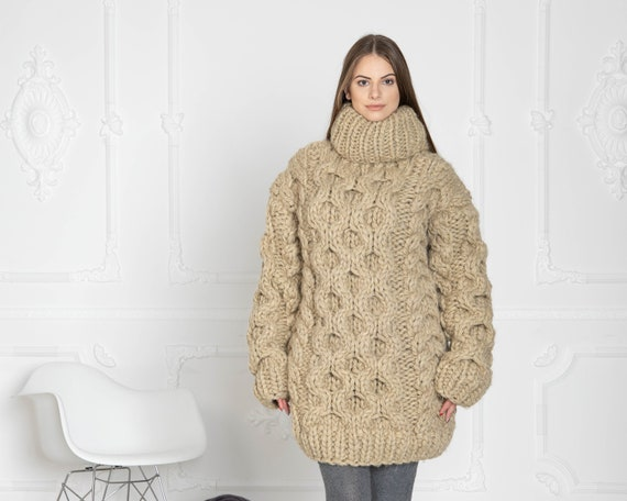 5 Strands Thick Beige Wool Sweater,Massive Knit Woolen Pullover, Cables Sweater, Woolen huge Sweater T630W