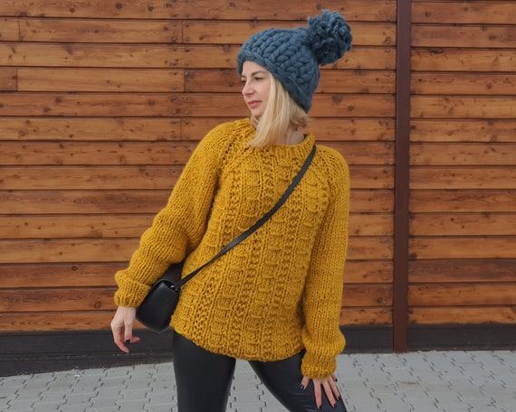 REady to SHip in size 2XL, Cable knit 100 % wool sweater, Itchy wool Jumper , Hand knitted Mustard yellow sweater T955