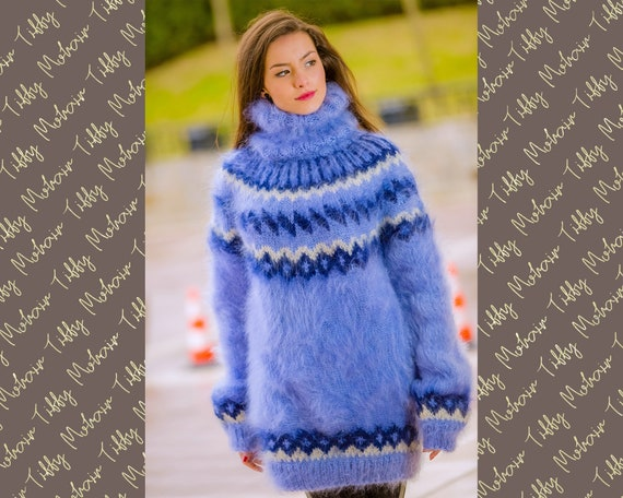 Mohair Sweater, Lopi Sweater, Icelandic Sweater, Hand Knit Sweater, Men Mohair Sweater, Norwegian Sweater, Nordic Sweater, Blue Sweater T312