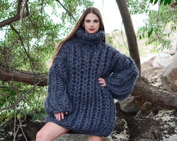 8 strands Mohair and wool mix sweater, Extra thick Fisherman rib jumper. Oversized Wool Sweater, Thick Hand Knitted Jumper T787W