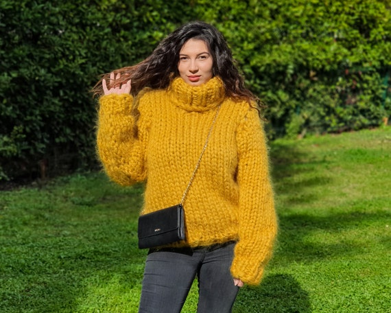 12 strands Turtleneck Mohair Sweater, Chunky Knit Unisex Pullover T895