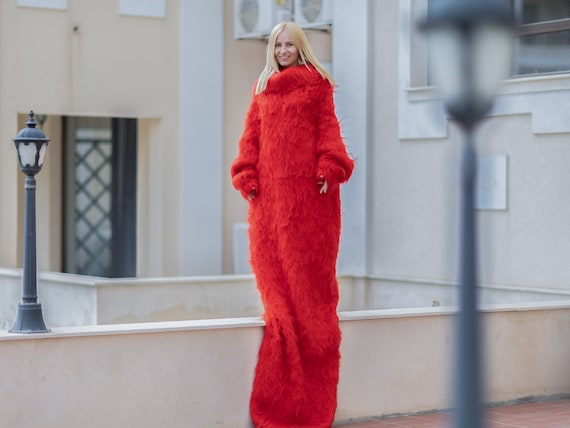Extremely long Red Mohair Dress, Turtleneck sweater dress, Hand Knitted blanket dress T1079