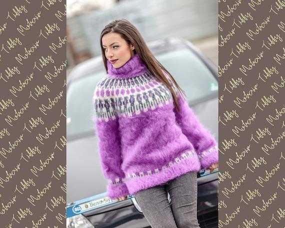 Scandinavian Fluffy Sweater, Purple Nordic Jumper T410