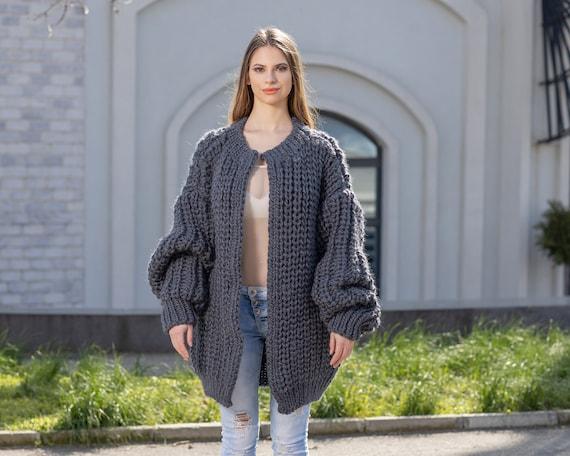 Gray Fisherman Wool Cardigan, Hand knitted Cradigan, Oversized Cardigan, Knit Jacket, Wool Coat, English rib Coat, Chunky Cardigan T1021M