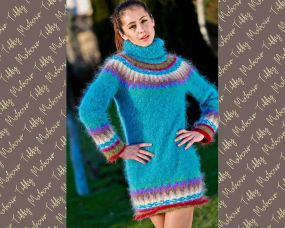 Nordic Sweater, Mohair Sweater Dress, Icelandic Sweater, Chunky Turtleneck, Bulky Top,  Hand Knit Jumper, Fair isle Pullover T242