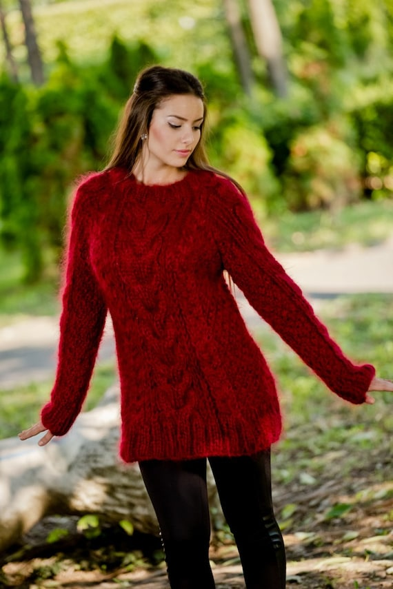 Bordeaux CHUNKY Mohair Sweater Turtleneck Top Thick Pullover Oversized Sweater Tunic Hand Knitted T93