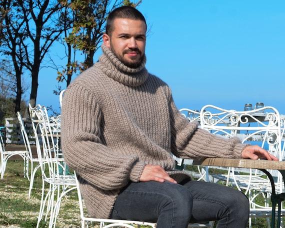 Men Wool Sweater, 100 % Soft Wool Sweater, Hand Knit Jumper, Huge Turtleneck Sweater, Raw Wool Sweater,  Knitted sweater, Wool Fetish T664