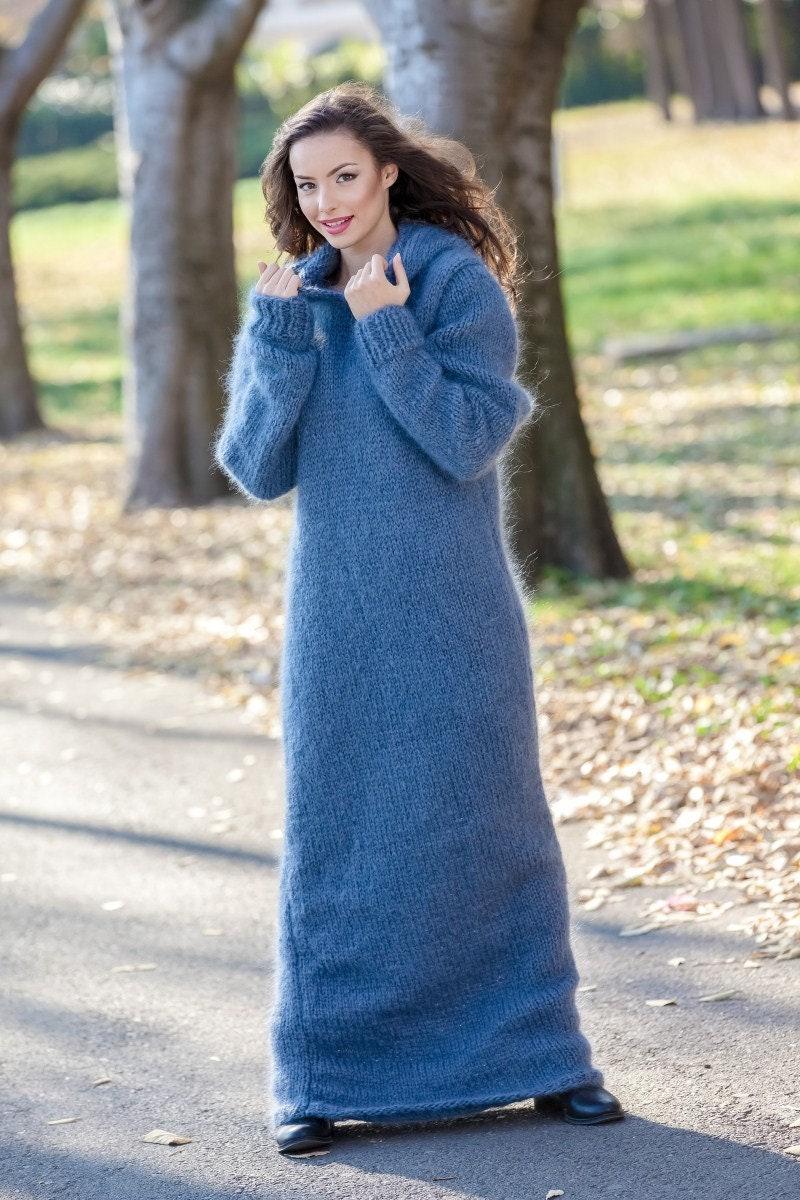 Gray Mohair Dress Knit Sweater Dress Turtleneck Maxi Dress Chunky Mohair Dress Long Fetish Dress Hooded Dress Hand Knitted Dress T390