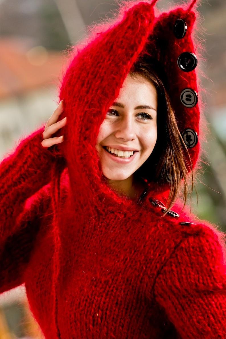 Fetish Bodysuit Red Mohair Bodysuit Fuzzy Mohair Romper Soft Turtleneck Sweater Fluffy Fetish Underwear  T241 Hand Knit Mohair Sweater