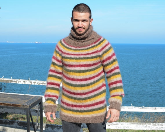 Colorful mohair sweater, Multicolor striped sweater, Rainbow loose sweater, Stylish warm sweater, Autumn oversized handknit sweater T671