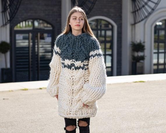 Merino Wool Sweater , Huge Super Chunky Knit Woolen Pullover, Marshmallow sweater, Giant knit sweater, Huge Sweater T1041