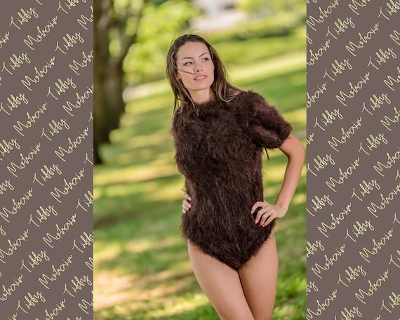 Fluffy Mohair Bodysuit, Hand Knit Bodysuit, Fetish Bodysuit, Men Mohair Romper, Short Sleeve Bodysuit, Fetish Underwear, Fuzzy Catsuit T342