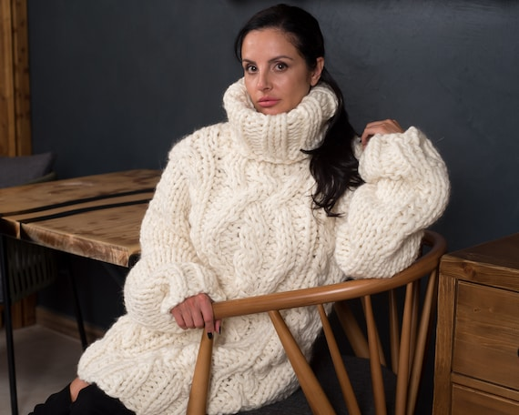 Wool Warm Cable Knit Sweater, Hand Knit Sweater, Chunky Sweater T892