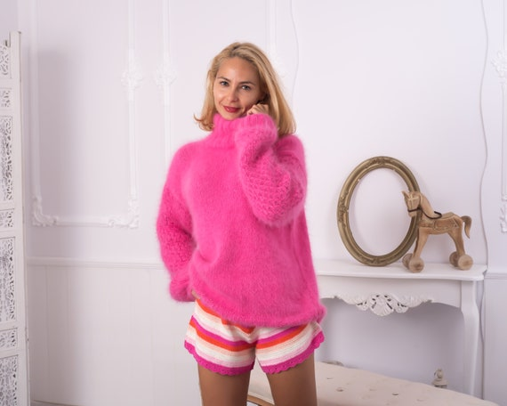 Ready to ship sweater in size XL, Hand knitted Pink rabbit angora sweater , Extra soft feminine jumper T856