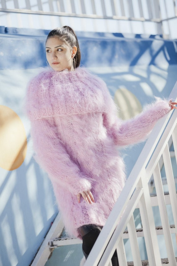 Pink Mohair Dress, Cowl Neck Sweater, Hand Knit Dress, Fluffy Pullover, Maxi Mohair dress, Winter Dress, Oversized Dress, Fetish Dress T13
