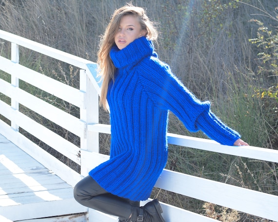 Ready to ship Chunky Pullover, Ribbed Blue Wool Sweater, Hand Knit Woolen Pull size XL T663W