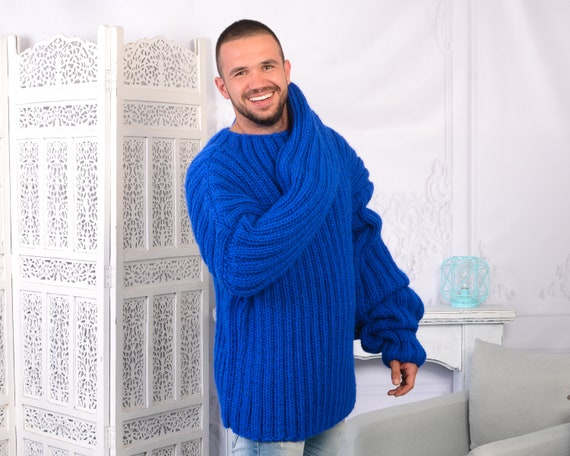 Men 's Ribbed Blue Wool Sweater, Hand Knit Woolen Pull , Chunky sweater, Very long sleeves sweater T781M