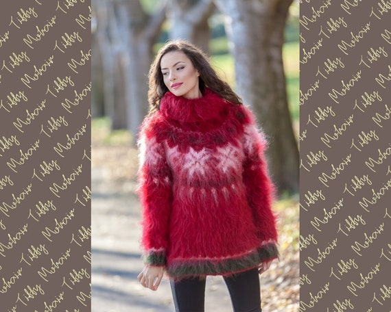 Snowflakes Christmas Sweater, Norwegian Mohair Sweater T377