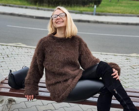 Hairy 100 % Alpaca sweater , Super soft sweater , Crewneck sweater , Handknit sweater T957