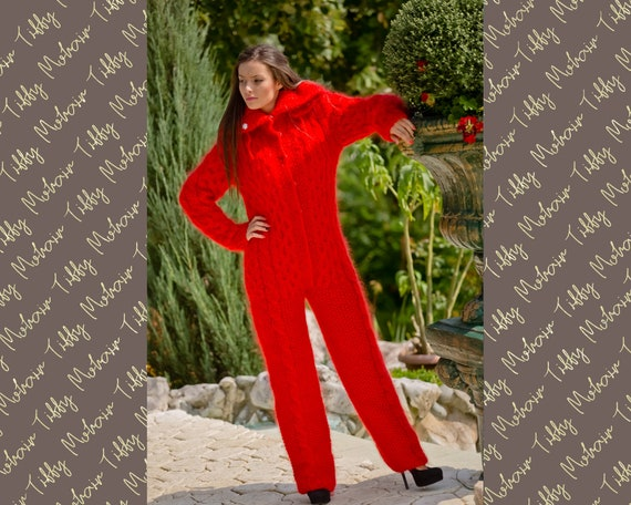Red Mohair Catsuit, Cables Mohair Overall, Fuzzy Fluffy Romper, Fetish Catsuit, Ski Mohair Jumpsuit, Chunky Catsuit, Hand Knit Catsuit T127