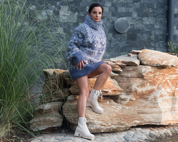 Blue Mohair Sweater, Icelandic Sweater, Hand Knit Sweater, Men Mohair Sweater, Norwegian Sweater, Fluffy Huge Sweater, Nordic Sweater  T835W