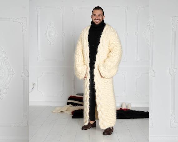 Cream Mohair Cardigan, Long Cradigan, Oversized Cardigan, Knit Jacket, Mohair Coat, Hand Knitted Cardigan, Maxi Coat, Chunky Cardigan T639M