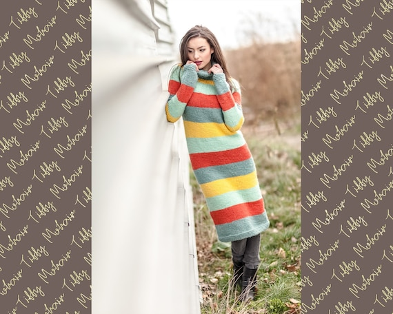 Soft Wool Dress, HandKnit Sweater, Chunky Knit Dress, Turtleneck Sweater,  Raw wool sweater, Woolen Dress, Striped sweater. Itchy Dress T420