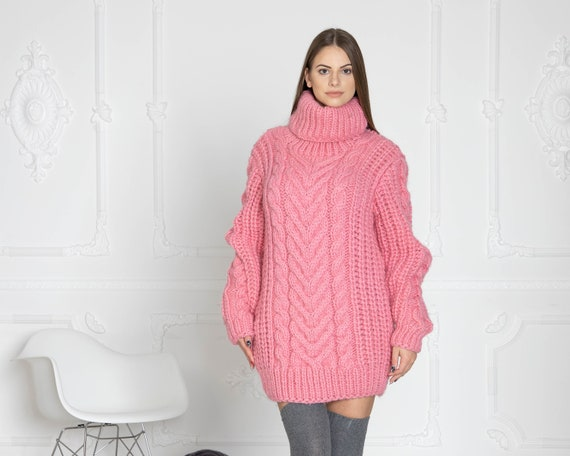 Pink Cable knit sweater. Hand knit sweater. T neck  sweater. Big knit sweater. Cables sweater. Virgin wool sweater. Soft wool sweater T625