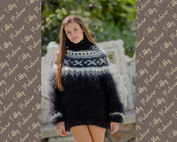 Gray Mohair Sweater, Icelandic Sweater, Hand Knit Sweater, Men Mohair Sweater, Norwegian Sweater, Fluffy Huge Sweater, Nordic Sweater T126